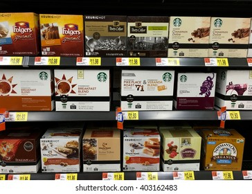 San Leandro, CA - April 08, 2016: Grocery Store display with multiple K-Cup for Keurig brand coffee makers. Gourmet brands with at home convenience.