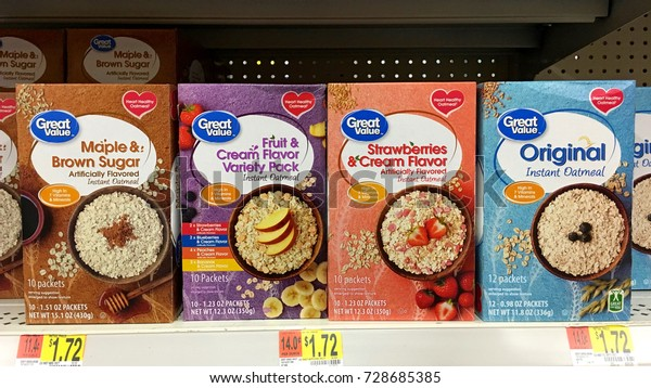 San Leandro, CA - August 24, 2017: Grocery store shelf with boxes of Great Value generic flavored instant Oatmeal packages. Great Value is a Walmart brand product.
