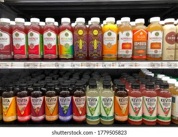 San Leandro, CA - July 8, 2020: Grocery store shelves with bottles of KeVita Kombucha and sparlking proBiotic drinks plus Bloom, Synergy and Suja organic Kombucha drinks in various flavors.