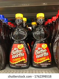 San Leandro, CA - June 23, 2020: Mrs Butterworths is an American brand of syrups and pancake mixes owned by ConAgra Foods. The syrups come in distinctive bottles shaped in the form of a matronly woman