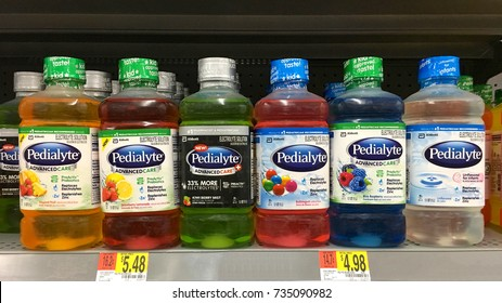 San Leandro, CA - October 15, 2017: Grocery store shelf with bottles of Pedialyte brand electrolyte replacement for infants and children