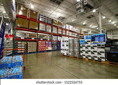 San Leandro, CA/USA - October 1, 2019: Pallets of merchandise stacked high at Costco Wholesale.