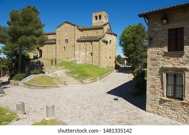 San Leo, Italy - May 14, 2013: Medieval cathedral of San Leo in San Leo, Italy. Cathedral was built in 12th century.