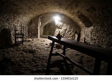 San Leo, Rimini/Italy - 08/20/2018: The prison in the San Leo castle where the Count Cagliostro, esotericist, alchemist, Italian mason died