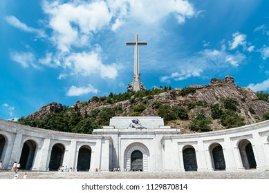 San Lorenzo de El Escorial, Spain - July 7, 2018: Outdoor view of The Valle de los Caidos or Valley of the Fallen. It was erected in Guadarrama to honour those who died in the Spanish Civil War