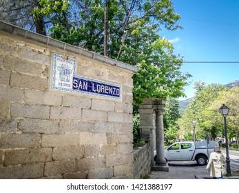 San Lorenzo De El Escorial, Madrid / Spain - May 2, 2019: The San Lorenzo sign close to the entrance to the Adolfo Suarez park