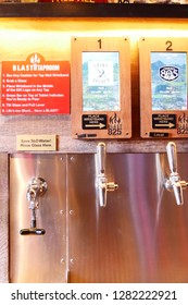 San Luis Obispo, California : November 12 2018 : Many kind of tap beer at Blast 825 Taproom downtown San Luis Obispo, California,USA