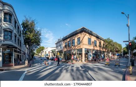 San Luis Obispo, USA - April 19, 2020: people enjoy a warm spring day in the old town of San Luis opisto at the main historic Monterey street.