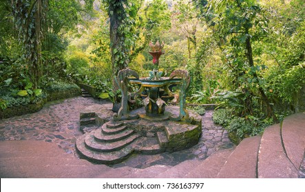 San Luis Potosi - March 19, 2016: Panoramic view of the magnificent fountain in the Surrealist Garden Edward James, Xilitla