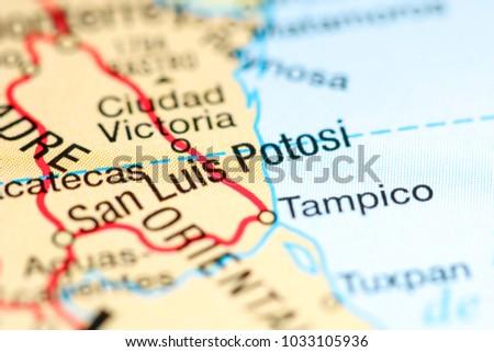 San Luis Potosi Mexico On Map Stock Photo Edit Now 1033105936
