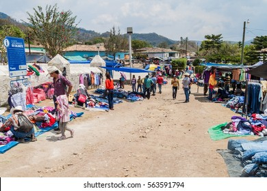 SAN MANUEL DE COLOHETE, HONDURAS - APRIL 15, 2016: Local indigenous people at a market. There is a big market in this village twice a month.