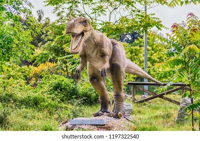 SAN MARCO IN LAMIS, ITALY - JUNE 9: Allosaurus dinosaur, featured in the Dino Park in San Marco in Lamis, small town in southern Italy, June 9, 2018