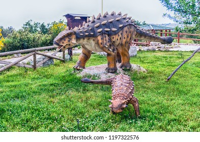 SAN MARCO IN LAMIS, ITALY - JUNE 9: Ankylosaurus dinosaur, featured in the Dino Park in San Marco in Lamis, small town in southern Italy, June 9, 2018