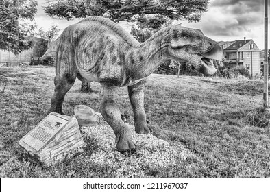 SAN MARCO IN LAMIS, ITALY - JUNE 9: Iguanodon dinosaur, featured in the Dino Park in San Marco in Lamis, small town in southern Italy, June 9, 2018