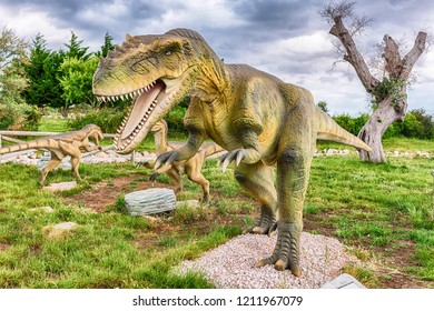 SAN MARCO IN LAMIS, ITALY - JUNE 9: Carcharodontosaurus dinosaur, featured in the Dino Park in San Marco in Lamis, small town in southern Italy, June 9, 2018