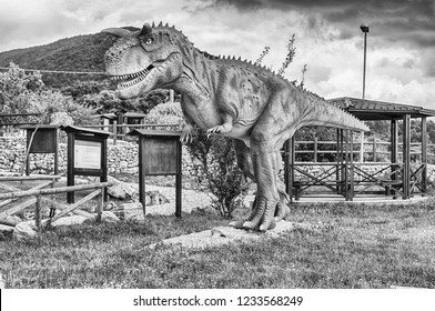 SAN MARCO IN LAMIS, ITALY - JUNE 9: Carnotaurus dinosaur, featured in the Dino Park in San Marco in Lamis, small town in southern Italy, June 9, 2018