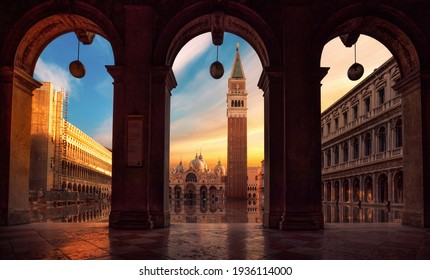 San Marco Place in Venice at the sunrise - Shutterstock ID 1936114000
