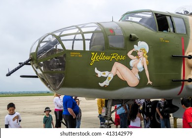 SAN MARCOS, TEXAS â?? APRIL 16 2016:  nose art of a B-29 bomber known as Yellow Rose