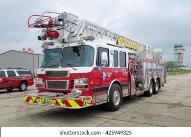 SAN MARCOS, TEXAS - APRIL 16 2016: San Marcos Texas fire truck and command vehicle