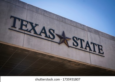 San Marcos, Texas - May 19 2020: Texas State University text with star logo