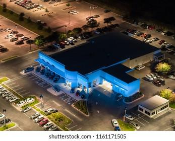 SAN MARCOS, TEXAS, USA - AUGUST 1, 2018: Aerial image of a Honda dealership in San Marcos Texas
