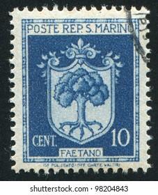 SAN MARINO - CIRCA 1945: A stamp printed by San Marino, shows Coat of Arms of Faetano, circa 1945