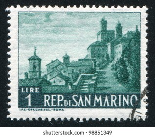 SAN MARINO - CIRCA 1957: A stamp printed by San Marino, shows Hospital Street, circa 1957