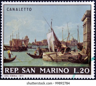 """SAN MARINO - CIRCA 1971: A stamp printed in San Marino shows """"View of the Harbour of Venice and the Customs' Office"""" by Canaletto, circa 1971"""