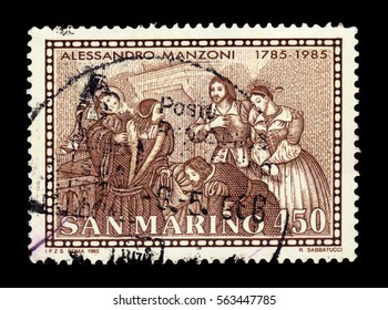 """San Marino - CIRCA 1985: a stamp printed in Rome shows illustration to the novel """"The Betrothed"""" by Alessandro Manzoni, italian poet and novelist, circa 1985"""