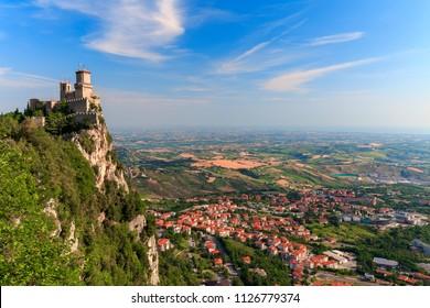 San Marino city view. Fortress on the rock. San Marino  landmark. Italy.