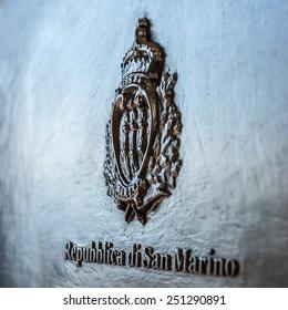 San Marino coat of arms on the black mailbox