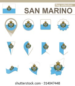 San Marino Flag Collection, 12 versions, Rasterized Copy