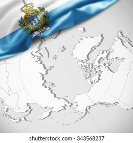 San Marino flag of silk with copyspace for your text or images and world map background