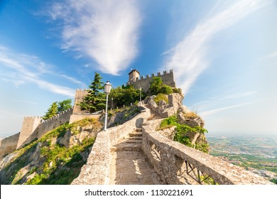 San Marino fortress on clear blue sky background. Historic center of Italy San Marino.