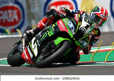 San Marino Italy - May 11, 2018: Jonathan Rea GBR Kawasaki ZX-10RR Kawasaki Racing Team, in action during the Superbike Qualifying session on May 11, 2018 in Imola Circuit, Italy.