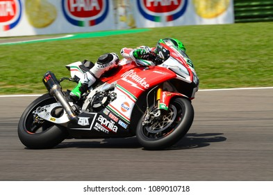 San Marino Italy - May 11, 2018: Eugene Laverty IRL Aprilia RSV4 RF Milwaukee Aprilia Team, in action during the Superbike Qualifying session on May 11, 2018 in Imola Circuit, Italy.