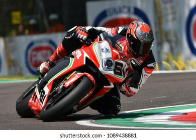 San Marino Italy - May 11, 2018: Jordi Torres ESP MV Agusta 1000 F4 MV Agusta Reparto Corse Team, in action during the Superbike Qualifying session on May 11, 2018 in Imola Circuit, Italy.