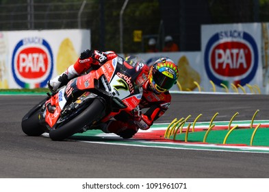 San Marino Italy - May 11, 2018: Chaz Davies GBR Ducati Panigale R Aruba.it Racing - Ducati Team, in action during the Superbike Qualifying session on May 11, 2018 in Imola Circuit, Italy.