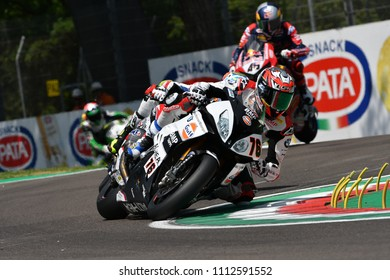 San Marino Italy - May 11, 2018: Loris Baz FRA BMW S 1000 RR GULF ALTHEA BMW Racing Team, in action during the Superbike Qualifying session on May 11, 2018 in Imola Circuit, Italy.
