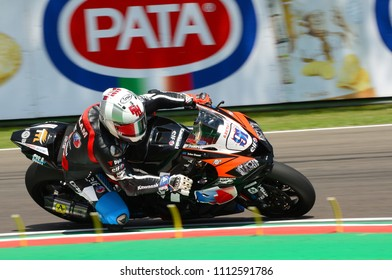 San Marino Italy - May 11, 2018: Leon Haslam GB Kawasaki ZX-10RR Kawasaki Puccetti Racing Team, in action during the Superbike Qualifying  session on May 11, 2018 in Imola Circuit, Italy.