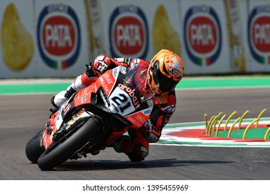 San Marino Italy - May 11, 2018: Michael Ruben Rinaldi Ducati Panigale R Aruba.it Racing - Ducati Team, in action during the Superbike Qualifying session on May 11, 2018 in Imola Circuit, Italy.