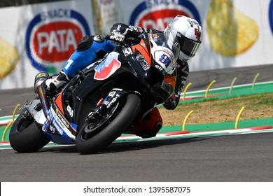 San Marino Italy - May 11, 2018: Leon Haslam GB Kawasaki ZX-10RR Kawasaki Puccetti Racing Team, in action during the Superbike Qualifying. Imola, Italy.