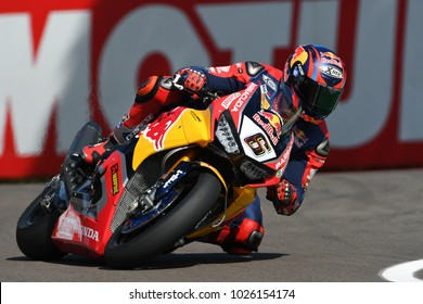 San Marino Italy - May 12: Stefan Bradl GER Honda CBR1000RR Honda World Superbike Team in action during the Superbike Qualifying session at the FIM Superbike 2017 at Imola Circuit Italy.