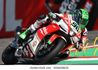 San Marino, Italy - May 12, 2017: Eugene Laverty on Aprilia RSV4 RF Milwaukee Team, in action during the Superbike Qualifying session on May 12, 2017 in Imola Circuit, Italy