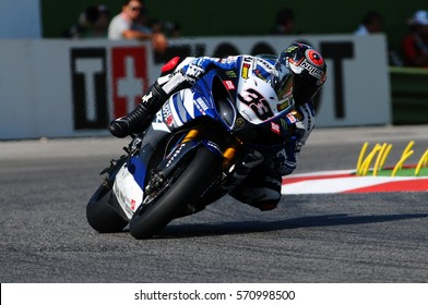 San Marino, Italy - Sep 24, 2011: Yamaha YZF R1 of Yamaha World Superbike Team, driven by Marco Melandri in action during the Superbike Practice on Sep 24, 2011 in Imola Circuit, Italy