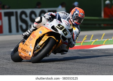San Marino, Italy - Sep 24, 2011: Ducati 1198R of Team Effenbert – Liberty Racing, driven by Jakub Smrz in action during the Superbike Practice on Sep 24, 2011 in Imola Circuit, Italy
