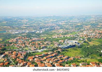 San Marino landscape and Adriatic coastline.