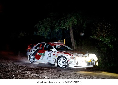 SAN MARINO - OCT 10 : Dutch driver Piet Van Hoof and his codriver Jacobs Max in a Mitsubishi Lancer Evo IV race in the 14th Rally Legend San Marino, on Oct 10, 2015 in Republic of San Marino.
