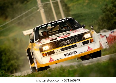 SAN MARINO - OCT 10 : German driver Michael Gerber and his codriver Luis Moya in a Audi Quattro S1 race in the 14th Rally Legend San Marino, on Oct 10, 2015 in Republic of San Marino.