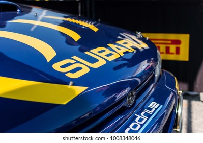 SAN MARINO, SAN MARINO - OTT 21 - 2017 : Colin McRae Subaru Impreza WRC old racing car rally THE LEGEND 2017 the famous SAN MARINO historical race